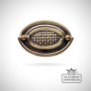 Traditional oval plate handle with basketweave design