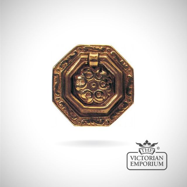 Octagonal ring handle in solid brass