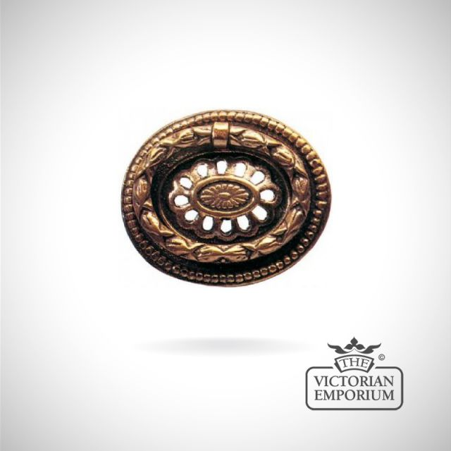 Oval ring handle with decorative pattern and cut outs