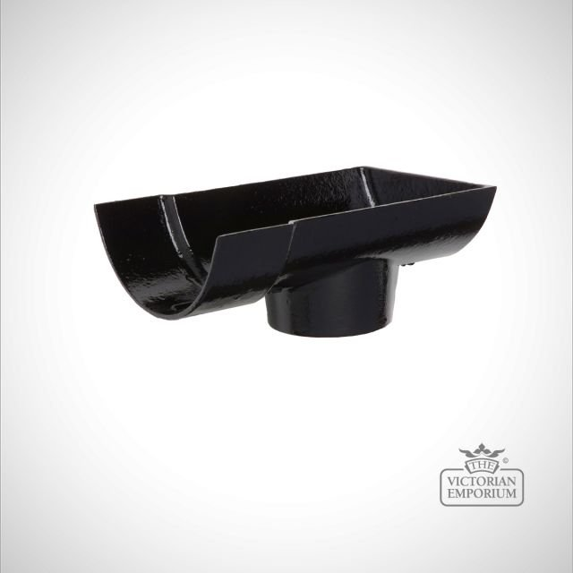 Outlet for plain half round gutter - black