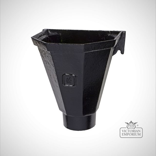 Flat Back Rainwater Head - black
