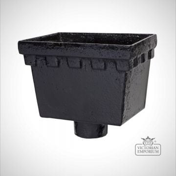 Traditional victorian cast iron gutters-standardrainwaterheadshopper-rectangularcastellateda