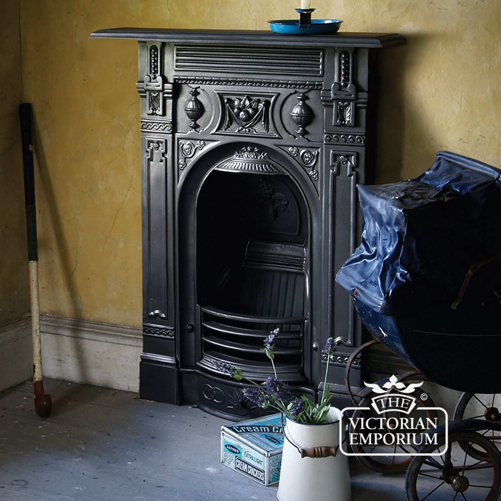 Late victorian style cast iron fireplace victorian for Victorian decor store