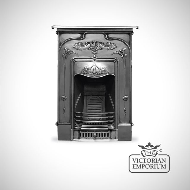 Art Nouveau style cast iron fireplace