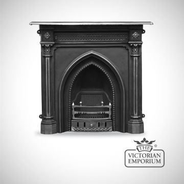 Gothic Revival style cast iron fireplace with highlighted columns