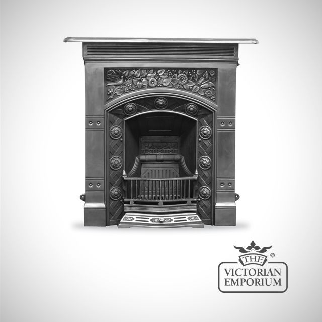 Arts and Crafts style cast iron fireplace