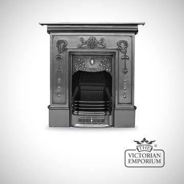 Pretty Art Nouveau style cast iron fireplace with botanical details