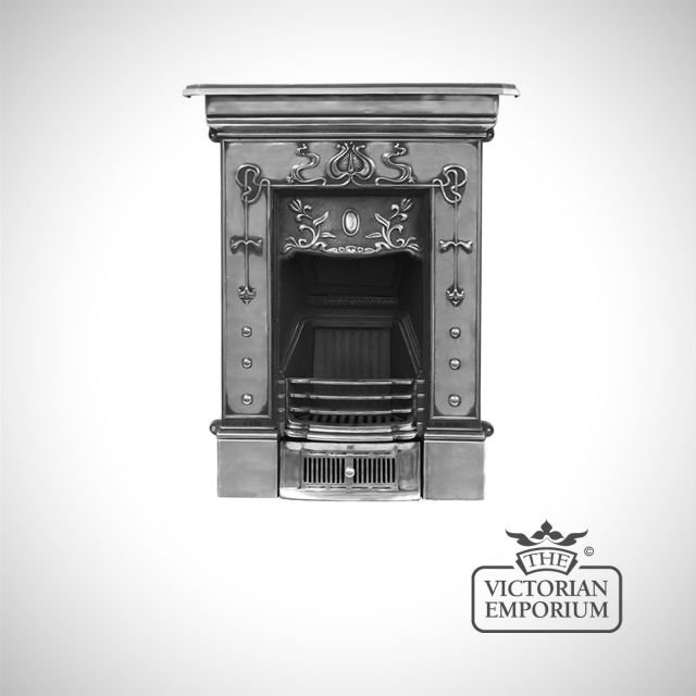 Pretty Art Nouveau style cast iron fireplace with botanical details - small size
