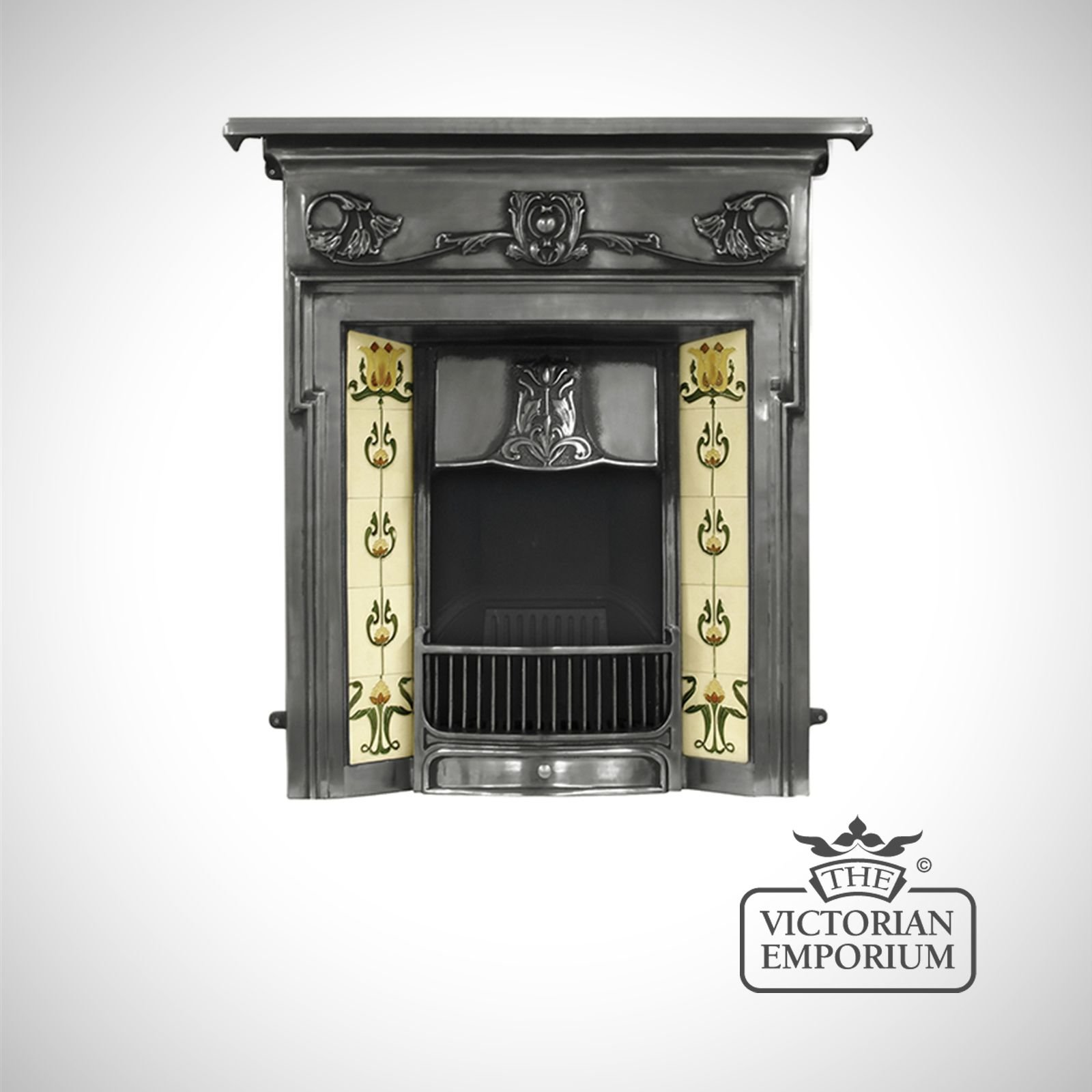 The morris victorian style cast iron fireplace with for Victorian decor store