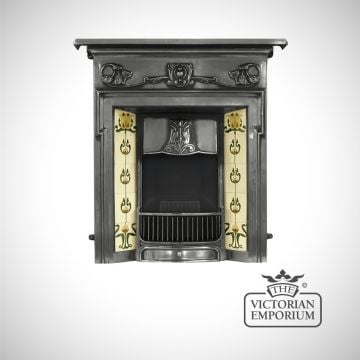 The Morris Victorian style cast iron fireplace with decorative floral tiles