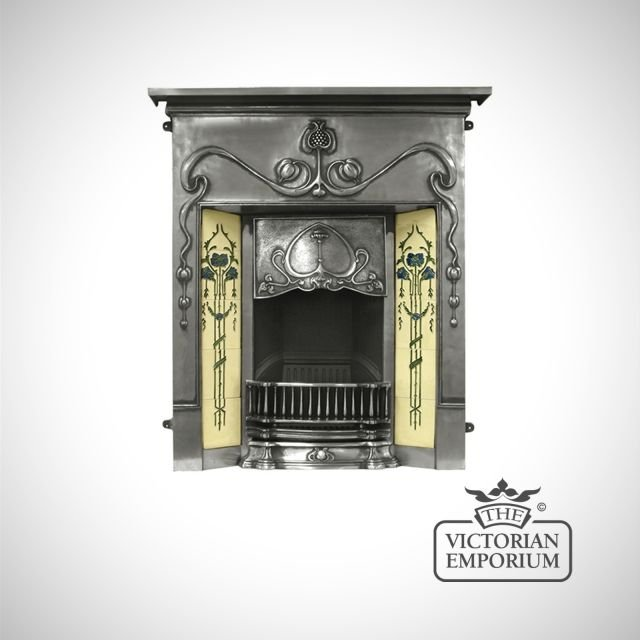 The Valentine Victorian style cast iron fireplace with decorative tiles