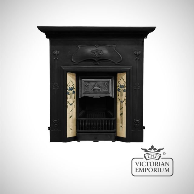 The Verona Victorian style cast iron fireplace with decorative tiles