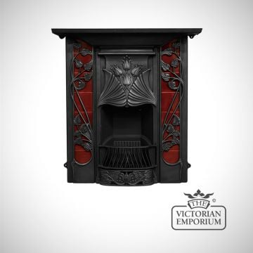 The Toulouse Art Nouveau style cast iron fireplace with coloured tiles