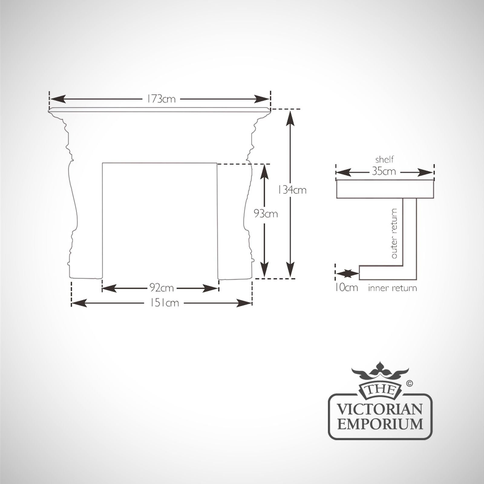 Fireplace Surround Dimensions Line Drawings Buckingham