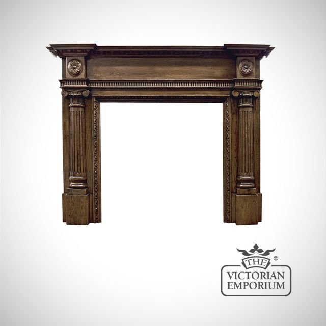 The Ashleigh Wooden Fireplace surround in an unfinished oak
