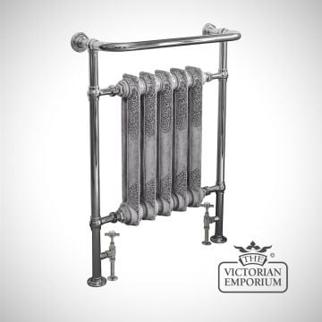 Willford Heated Towel Rail 960x675mm in a chrome or copper finish with ornate centre section