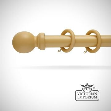 Louth wooden curtain pole set in natural a choice of 6 lengths
