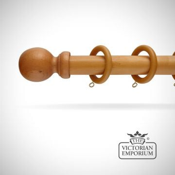 Louth wooden curtain pole set in light oak in a choice of 6 lengths