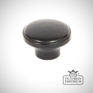 Black ribbed cabinet knob
