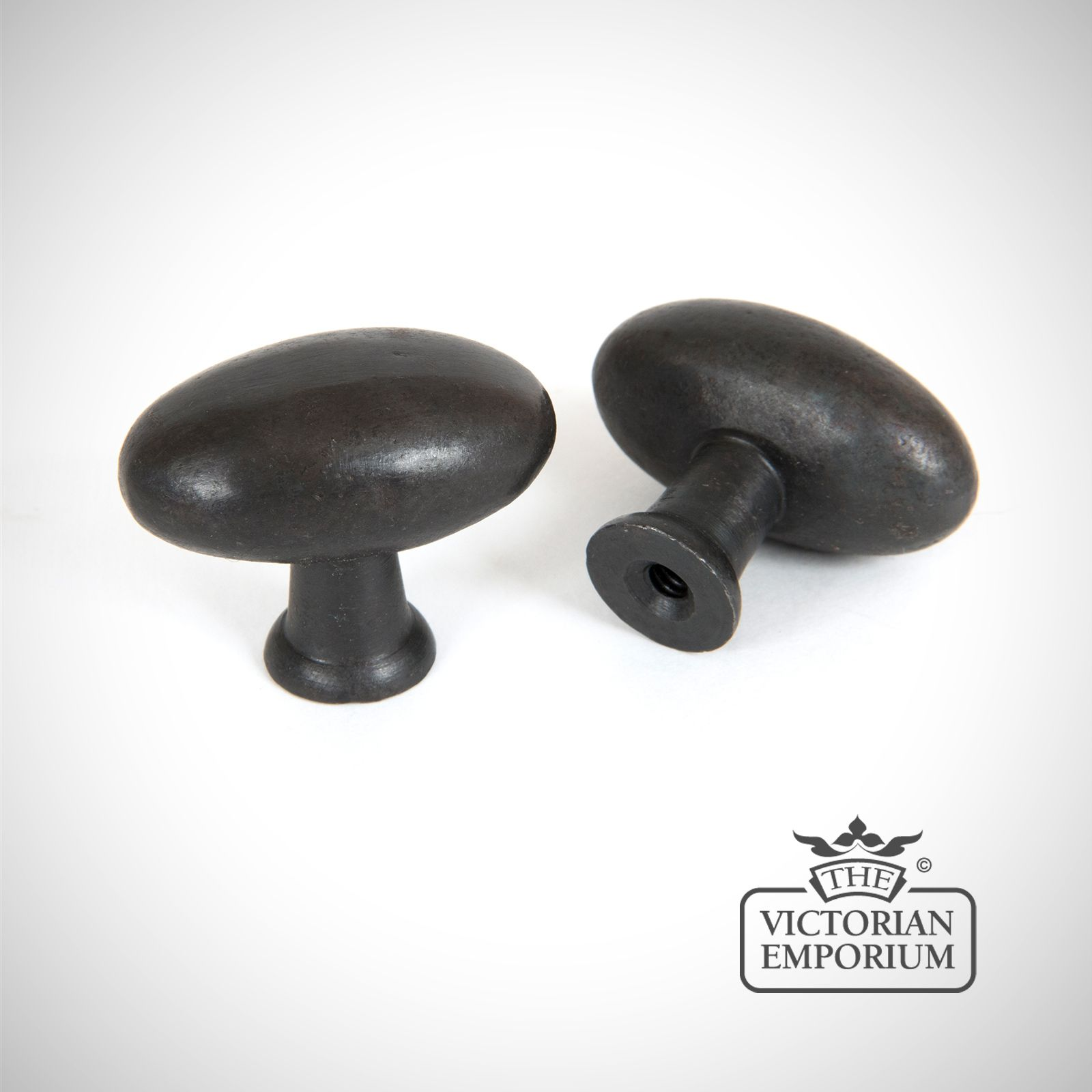 Beeswax Octagonal Cabinet Knobs Small: Oval Cabinet Knob With Beeswax Finish