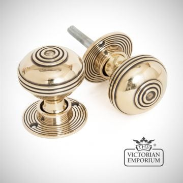 Pressbury mortice/rim knob set in Aged Brass
