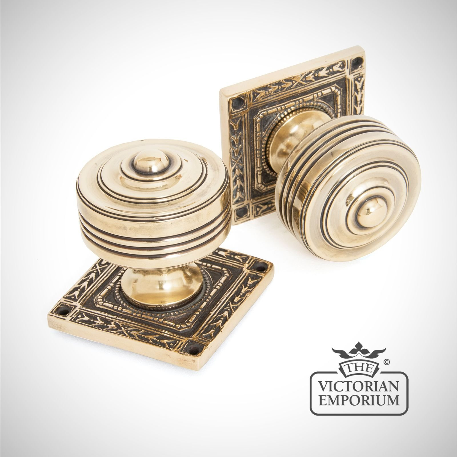 Square highly decorative mortice knob set in aged brass - Decorative exterior door handles ...