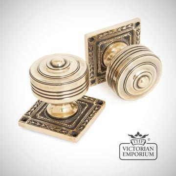 Square Highly Decorative Mortice Knob Set in Aged Brass