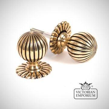 Flower Mortice Knob Set - Aged Brass