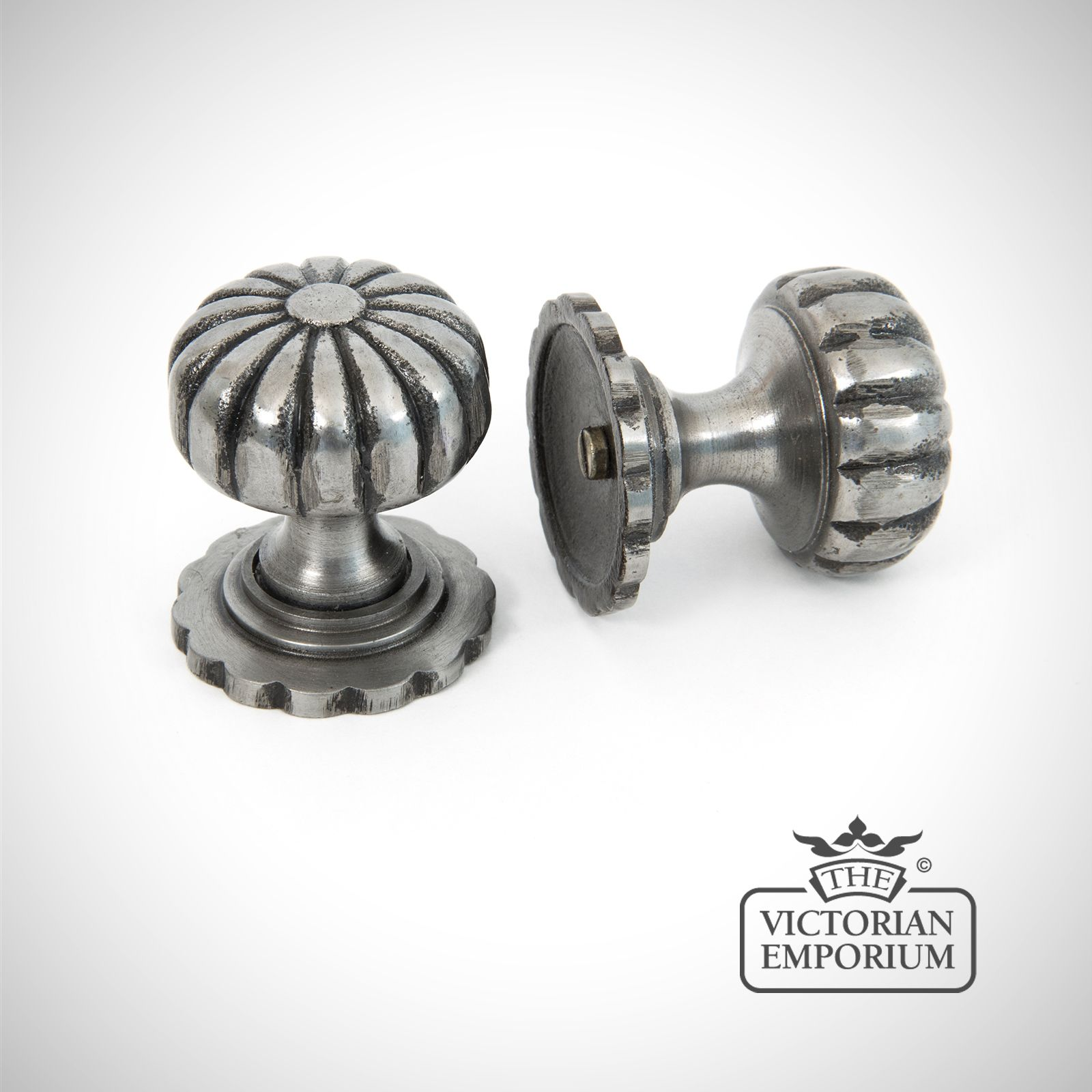 Pewter Fluted Cabinet Knob ...