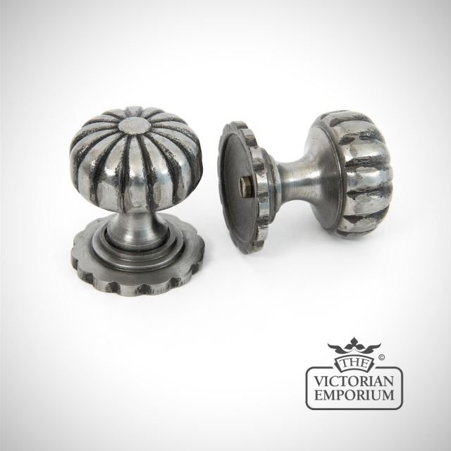 Pewter fluted cabinet knob