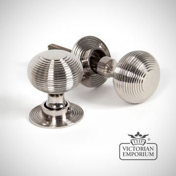Beehive mortice/rim knob set in Polished Nickel