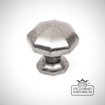 Pewter octagonal cabinet knob