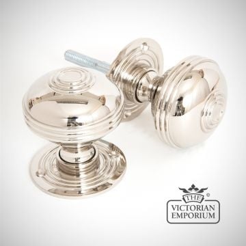 Pressbury mortice/rim knob set in Polished Nickel