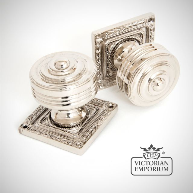 Square Highly Decorative Mortice Knob Set in Polished Nickel
