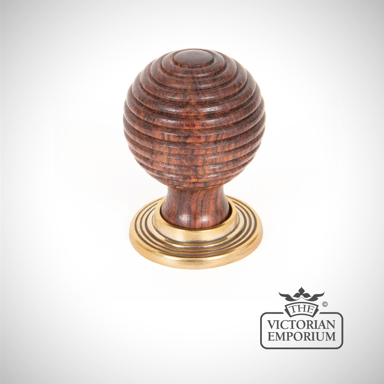 Rosewood & Antique Brass Beehive Cabinet Knob