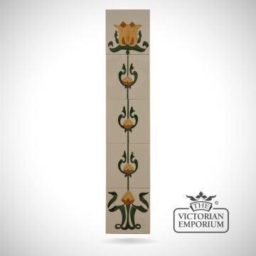 Art Deco Crocus fireplace tiled panel