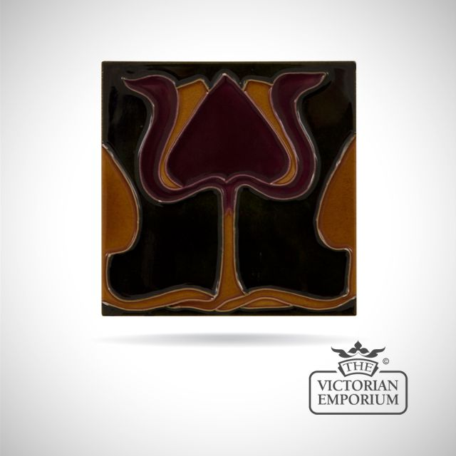 Art Deco fireplace tiles featuring a tulip in deep red and orange