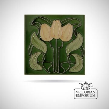 Art Deco fireplace tiles featuring Yellow Tulips