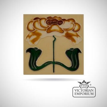 Art Deco fireplace tiles featuring one large multicoloured flower