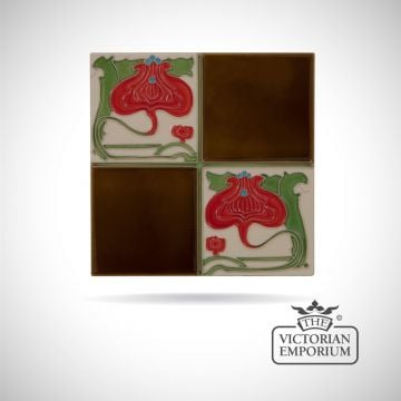 Art Deco fireplace tiles featuring red flowers and chestnut squares