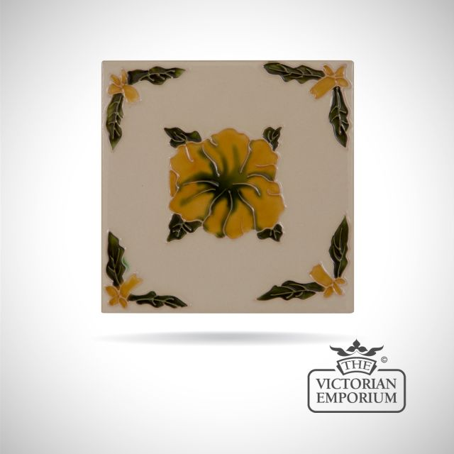 Art Deco fireplace tiles featuring a yellow flower
