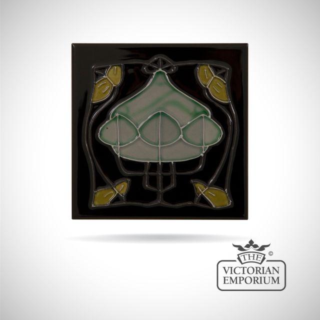 Art Deco fireplace tiles featuring butterflies