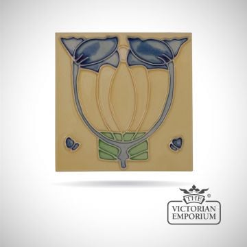Art Deco fireplace tiles featuring blue flowers