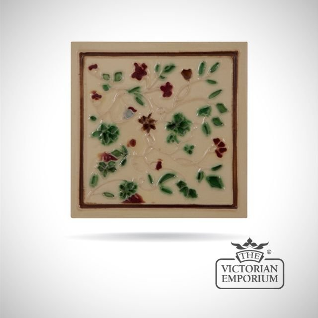 Art Deco fireplace tiles featuring small leaves and flowers
