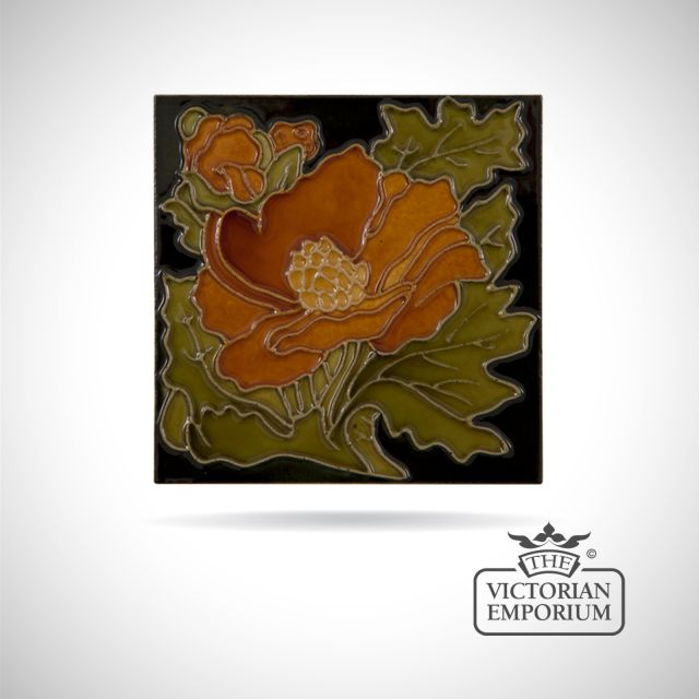 Art Deco fireplace tiles featuring leafy flower
