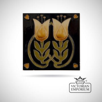 Art Deco fireplace tiles featuring pretty yellow flowers