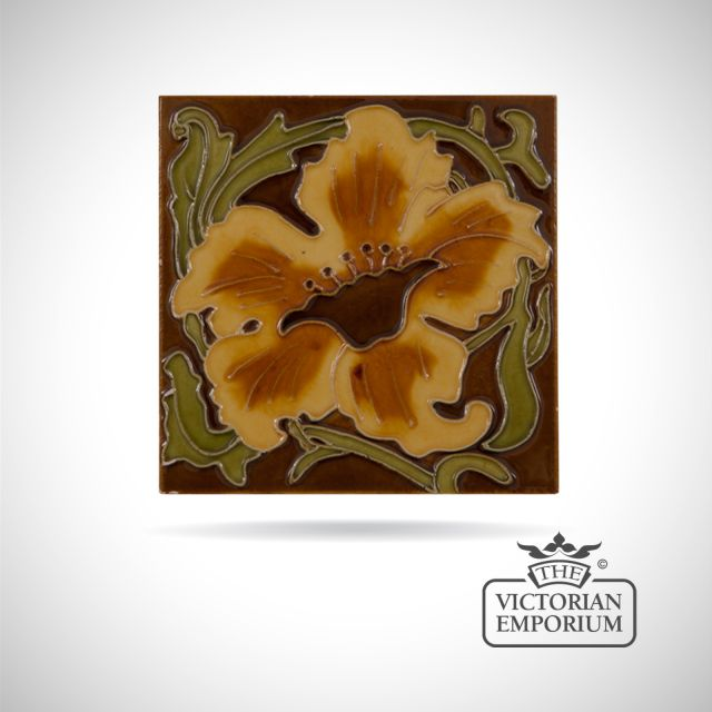 Art Deco fireplace tiles featuring large flower