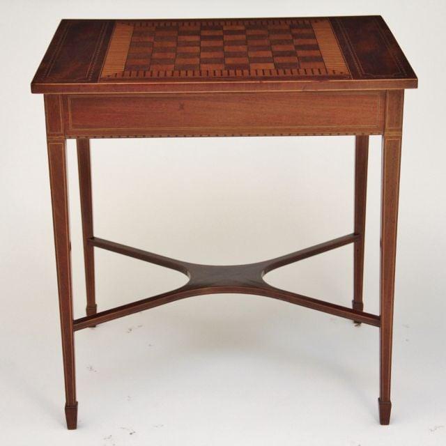 19th Century mahogany inlaid games table