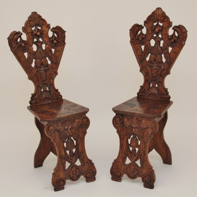 Pair 19th Century carved walnut hall chairs