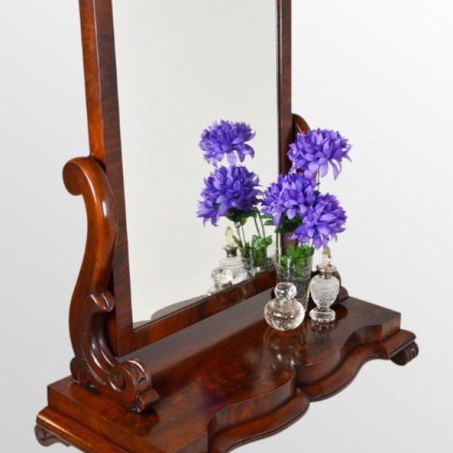 Attractive Victorian Vanity Mirror - Serpentine Plinth